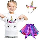 NNJXD kleine Mädchen Einhorn Baumwoll-T-Shirt + Regenbogen Tutu-Rock + Kopfbedeckung, 3Pcs Sommer Outfit für Kinder Größe 5-7 Jahre Regenbogen