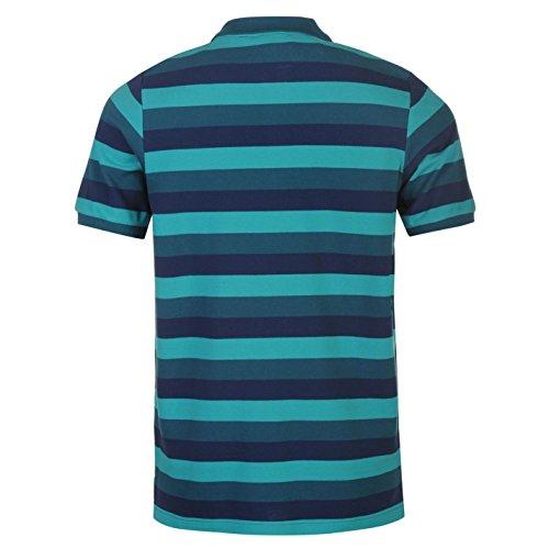 Everlast Herren Gestreift Polo Shirt Kurzarm Polohemd Baumwolle Freizeit Teal
