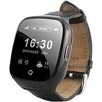 Antiguo reloj inteligente reloj dinámico ritmo cardíaco de control de la presión arterial SOS alarma de socorro impermeable de posicionamiento reloj multifunción , Black