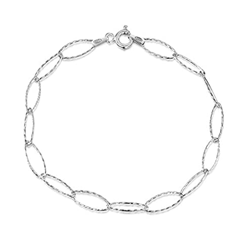 "Amberta 925 Sterling Silver 6.3 mm Oval Cable Chain Charm Bracelet Length 7.5"" inch / 19 cm (7.5)"