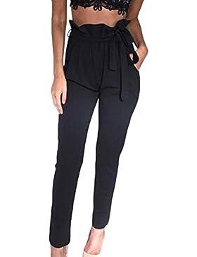 HAHAEMMA Pantalones Harén Elegantes para Mujer Cintura Plisada Pantalones Anchos Largos Atractivos Sexy con Arco