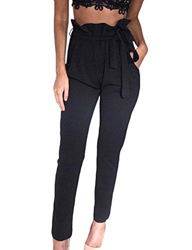HAHAEMMA Pantaloni eleganti donna Harem plissettato casual pantaloni lunghi larghi sexy con fiocco(BL,L)
