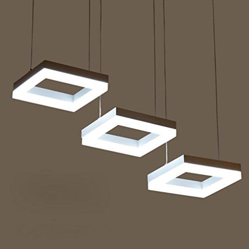 Tatosun 3× Hängelampe Quadrat Panelleuchte Drei Fish Line Hängelampe SMD LED Modernen Design Lampen Kaltweiß Warmweiß Optional Esszimmerlampe Persönlichkeit Pendelleuchte mit Acryl Lampenschirm