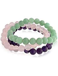Bling Jewelry Set de 3 véritable améthyste Quartz rose Aventurine est Stretch Bracelet