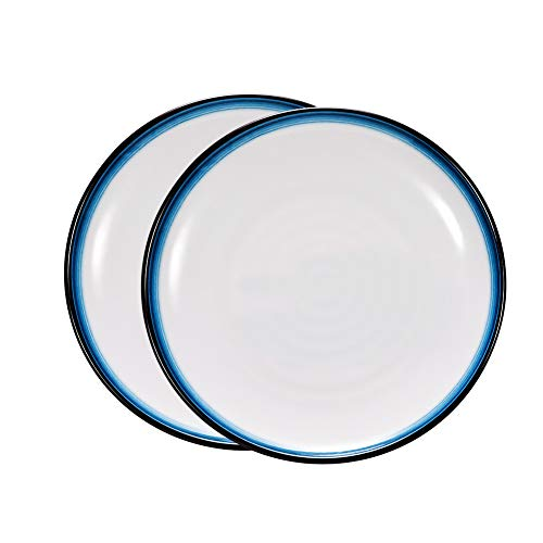 DINNA Servierteller 2er-Set Runde Salat/Vorspeise Teller für Haus und Küche, Melamin Abendessen Geschirr für Obst, Käse, Dessert, Pasta und vieles mehr,7''
