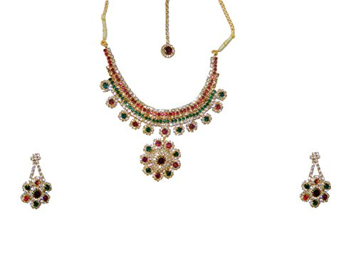 Bollywood Set Deepika rot grün mit Bindis und Bangles indisches Schmuck Set Accessoire