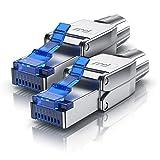 CSL - 2x Netzwerkstecker feldkonfektionierbar RJ45 CAT 6 CAT 7 CAT 8 - geschirmt 10 GBit/s 500 MHz Ethernet werkzeuglos LAN Kabel - Crimpstecker Steckverbinder für Netzwerkkabel Verlegekabel