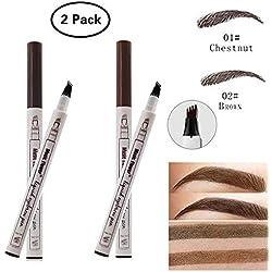 Dkina Tattoo Liquid Eyebrow Pencil, Lápiz de Cejas con 4 Puntas de Tenedor Impermeable, Pluma de la Ceja del Tatuaje con el Cepillo, Waterproof Brow Gel para Maquillaje Natural de Ojos(2 Piezas)