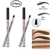 Dkina Tatouage Crayon à Sourcils avec 4 Points, Crayon Sourcil Liquide Imperméable à L'eau Durable,Stylo à sourcils,Crayon pour sourcils(2 pièces/marron&brun))