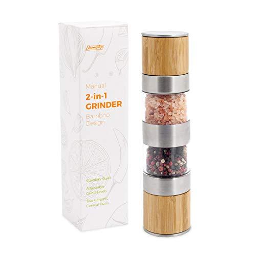 DOMESTICO Molinillo Manual Duette Bambu Edicion para Sal, Pimienta o Especias 2 en 1, Molino de Diseño...