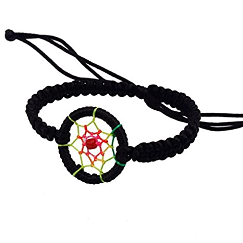 Kolylong 1PC Mode PU Cuir Charm Campanula Mignon Dream Catcher Bracelet Noir