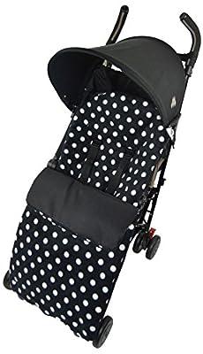 Forro polar con diseño de saco de abrigo impermeable con para que se ajuste a Mosaic Graco de estadio de fútbol dúo de Quattro Evo diseño de estampado de lunares de color negro