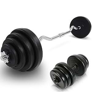 Physionics - Set d'Haltères avec Barre Curl (23,5 kg) et Barre Courte (20 kg)