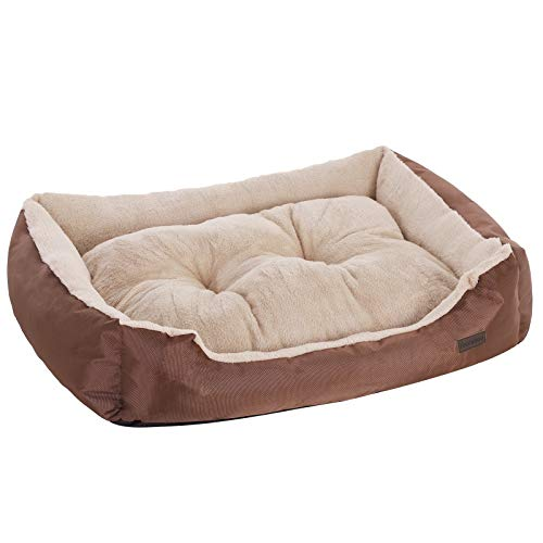 FEANDREA Hundebett, Hundesofa, Hundekissen, Innenkissen beidseitig nutzbar, 75 x 58 x 17 cm, braun PGW03Z