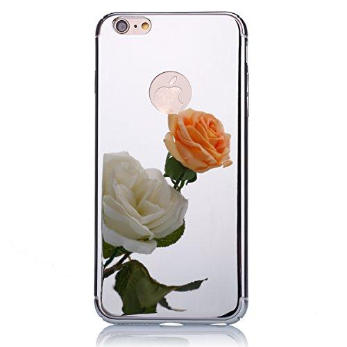 JAWSEU iPhone 6 Plus 5.5 Zoll/6S Plus 5.5 Zoll Diamant Tpu Hülle,Luxus Rose Gold Strass Rahmen Glitzer Weiche Silikon Soft Gel Ultra Dünne Perfekter Schutz Helle Glänzende Strass Tpu Schale Zurück Sch Mirror,Silber