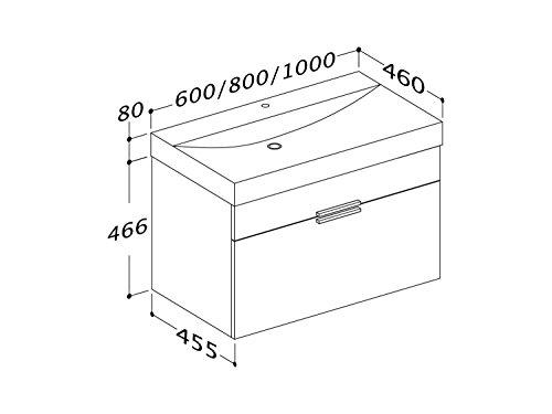 Waschtischunterschrank 100 / 80 / 60 cm breit Hochglanz Weiß Waschbeckenunterschrank Unterschrank Badmöbel-Set hängend Sieper Girona (100 breite) - 4