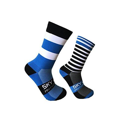 Yunhigh Gestreifte Outdoor Sportarten Radfahren Socken Compression Athletic Crew Socken Winter Thermal Unisex Atmungsaktiv für Basketball, Radfahren, Laufen, Wandern, Fitnesstraining