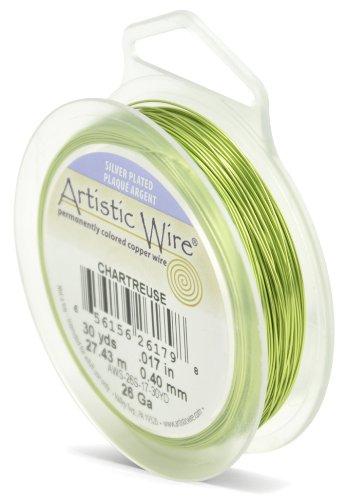 Artistic Wire Beadalon Fil de cuivre Calibre 26 27,43 m Câble plaqué argent Vert Chartreuse