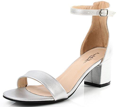 Ageemi shoes donna tallone spesso punta aperta tacco medio sandali con fibbia,eul18 argento 38