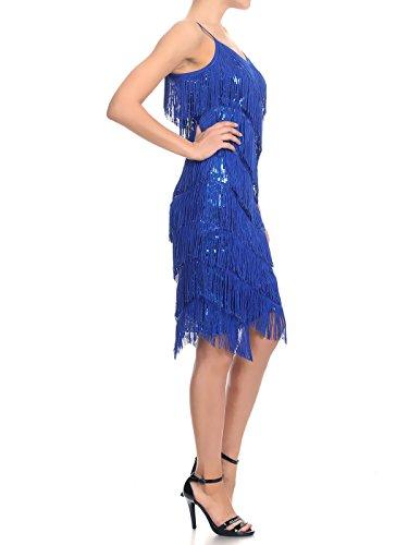 Anna-Kaci donna Cinghia del Sequin del Fringe del vestito da partito del Flapper Backless 1920s impero Vestito Blue