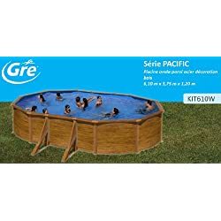 Gre Kit610 W – Piscina Ovalada 4 Realce laterales Decoración Madera Dim Color 610 x 375 H 120