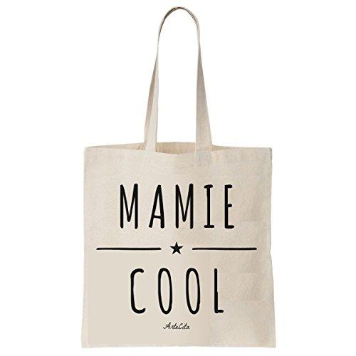 Tote Bag Imprimé Ecru - Toile en coton bio - Mamie Cool