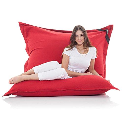 Manitou INDOOR Sitzsack ROT - 100% Baumwolle - 180 cm x 140 cm - Inhalt 500 Liter - Made in Germany - abziehbarer Bezug - 30 Jahre Garantie