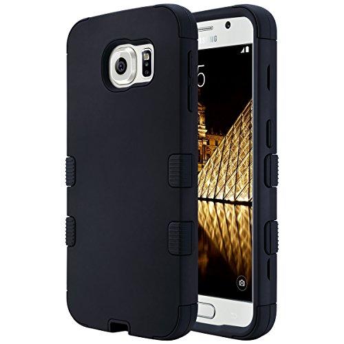ULAK Galaxy S6 Hülle, S6 Hülle, Mode Hybrid 3 Schicht Stoäfest Soft Silikon Hart PC Schale Hülle für Galaxy S6 (schwarz) Sprint Pcs Phones