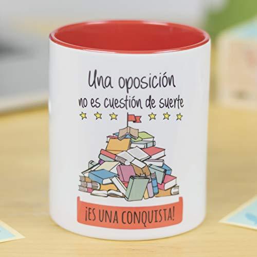 La Mente es Maravillosa - Taza con Frase y dibujo. Regalo original y gracioso (Una oposición no es cuestión de suerte ¡Es una conquista!) Taza Diseño Oposición