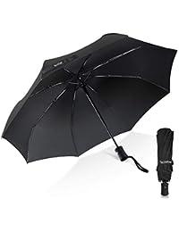 Paraguas TechRise Classic - Paraguas de viaje plegable automático, con un botón de apertura y cierre automático, color negro