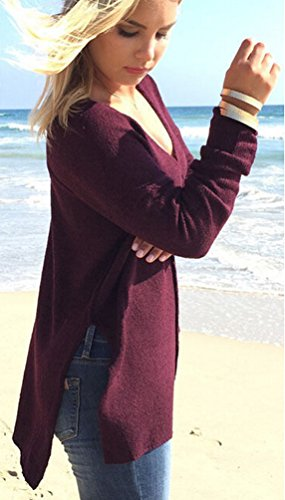 Pull Long Femme Pull Maille Oversize Pull Over Ample Pulls Col V Sweater Manche Longue Chandail Tricoté Top Tricot Chic Feminin Chaud Pullover Automne Hiver Loose Casual Chic Rouge