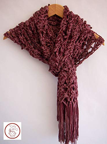 Chal GRANATE. Totalmente tejido mano. Modelo único