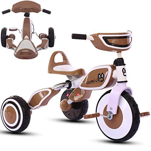 Fenfen Triciclo per Bambini Trolley per Biciclette per Biciclette 2-6 Anni Pieghevole in Schiuma Antiscivolo Eva con Musica Leggera (Colore : Chocolate)