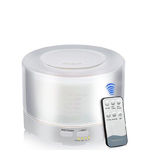 Difusor de aroma con mando a distancia 500ml Tiempo ajuste humidificador para habitaciones Oficina...