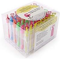 WeddingTree® Set de pompas de jabón con colores del arco iris - 48 piezas con mango en forma de corazón - Un verdadero encanto para bodas, bautizos, ...
