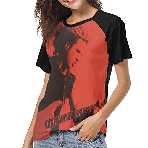 cf8d86ff Kmehsv Camiseta para Mujer,Camisas Mujer Blusas Manga Corta Sammy Hagar The  Essential Red Collection Womens Short Sleeve Raglan Baseball Tshirts Black