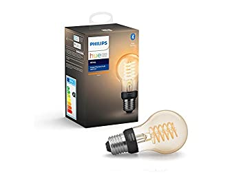 Philips Hue White Filament Single Smart LED Bulb, E27 Edison Screw with Bluetooth, Works with Alexa and Google Assistant