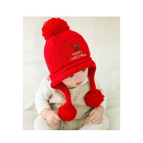 Yeahibaby cappellino per bambini in maglia d'inverno spesso in rosso