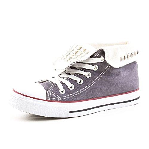 Damen High Top Turnschuhe Sneaker Textil Canvas Schuhe Grau Nieten