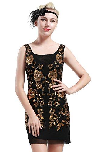 Babeyond Damen 1920s Stil Mini Kleider voller Pailletten Offener Ausschnitt Inspiriert von Great Gatsby Kostüm Kleid Gold oder S