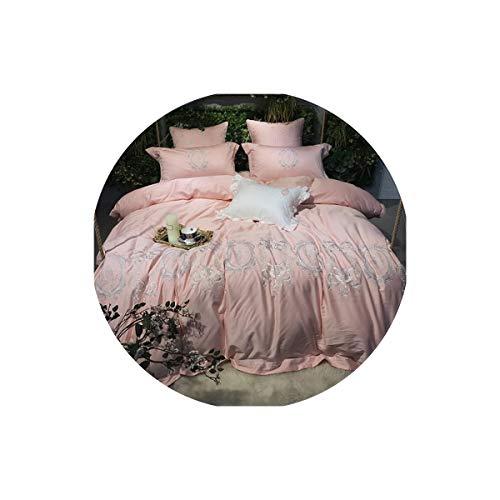 Lovtiful- Lace Bedding Ägyptischer Baumwolle Spitze-Stickerei-Bettbezug Bett Set Königin Kingsize-Bett Blatt-Satz Pillowcase, Farbe 2, King Size 7Pcs, Spannbettuch Stil