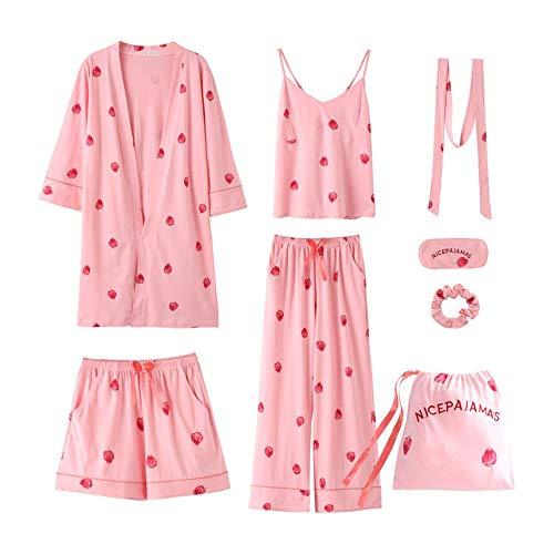 nter 7 Stück Set Baumwolle Elegante Frauen Pyjamas Full Shorts Langarm Top Elastische Taille Hosen Silk Lounge Robe, 5232, XL ()