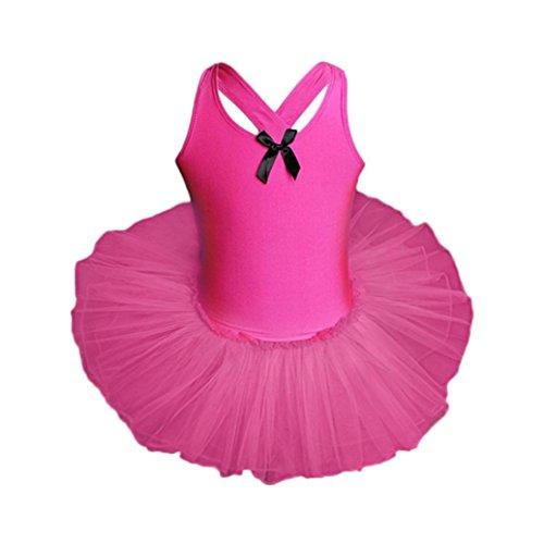 feiXIANG Toddler Tutu Kleid Mädchen Leotards Ballet Bodysuit Kleinkinder Dancewear Dress Mädchen Tanzkleidung Outfits für Kinder (140, Heiß Rosa)