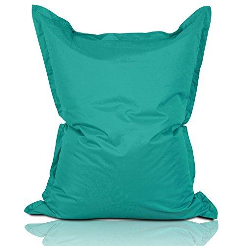 Lumaland Sitzsack 380L / 140 x 180 cm für Indoor & Outdoor | Riesensitzsack Sitzkissen Sessel Gamer Stuhl Bean Bag für Kinder & Erwachsene - Türkis
