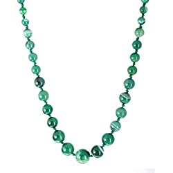 Kastiya Jewels Elegant Shaded Green Colored Agate Semi Precious Gemstone Beads Chain Necklace For Women