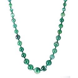 Kastiya Jewels Elegant Shaded Green Colored Agate Semi Precious Gemstone Beads Chain Necklace For Women