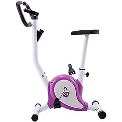 Yongtaifeng Vélo d'Appartement Intérieur Vélo Fitness Cardio Pliable pour Domestique avec Ecran LCD Jusqu'à 120 KG Noir/Violet/Bleu Selle Réglable 65-81CM (Violet)