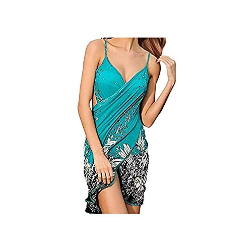 TTD Damen V-Ausschnitt langes Kleid Sommer Strand Wickelkleid Bademantel Handtuch Travel Spa Swim - Pareo Strand Cover