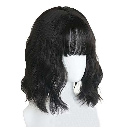 LIHY PerüCke- Perücke Weibliches Kurzes Haar, natürliches schwarzes Kurzes lockiges Haar, Das Flauschige Luft-Pony-rundes Gesicht kräuselt