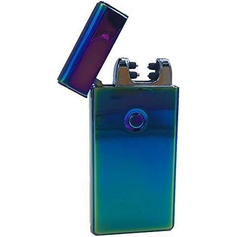 Cigarrillo eléctrico más ligero a USB Arco doble carga rápida sin combustión, resistente segura ya prueba de viento con caja de regalo (Rainbow - Violeta)